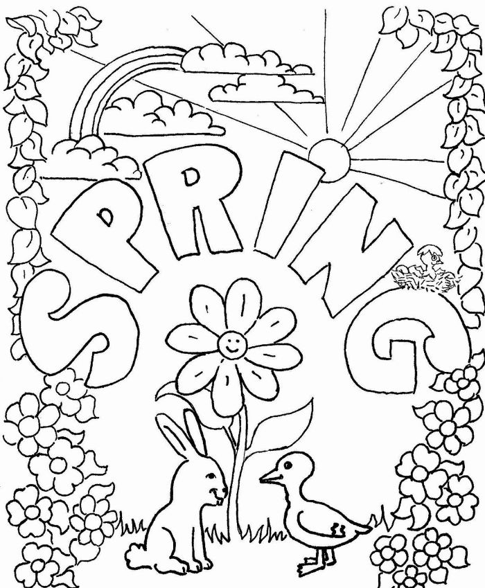 spring written over drawing of bunny and duck free printable spring coloring pages surrounded by flowers