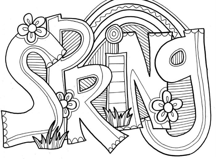 spring written with large letters free printable flower coloring pages surrounded by flowers