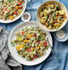 squash recipes bowtie pasta with yellow and red cherry tomatoes basil pesto placed on white plates