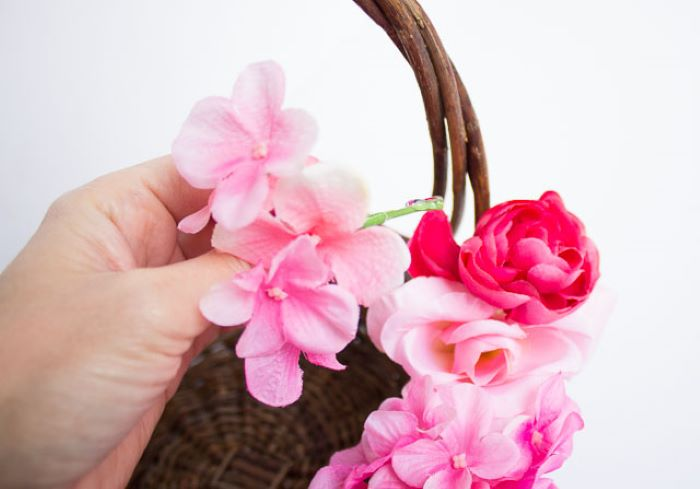 step by step diy tutorial diy easter basket how to decorate basket with faux flowers