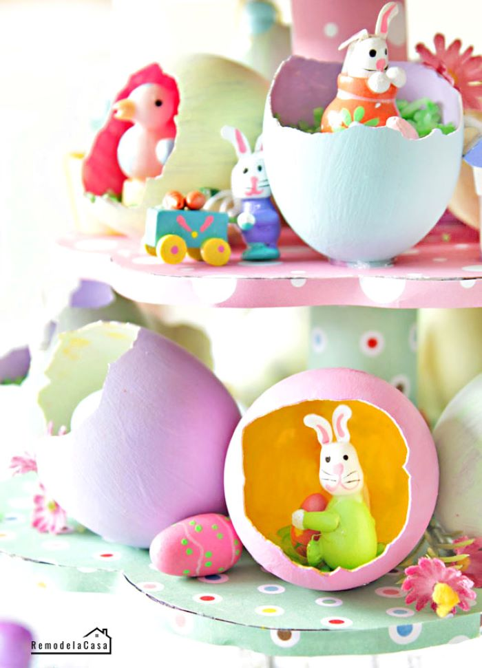 step by step diy tutorial for large centerpiece outdoor easter decorations eggshells and small easter themed figurines
