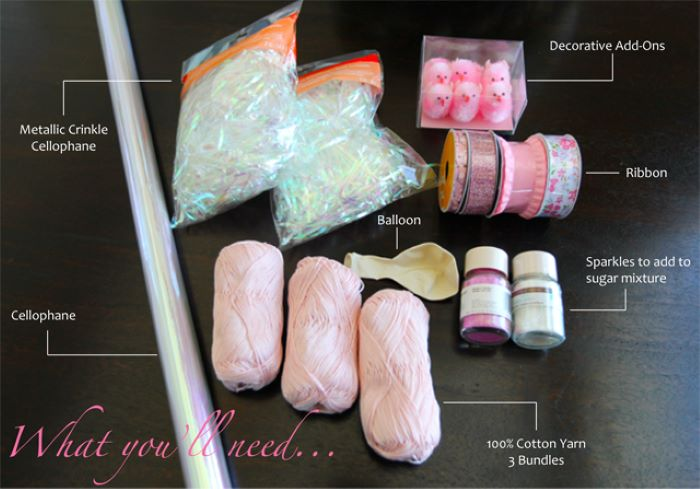 supplies for diy step by step tutorial homemade easter baskets yarn ribbon balloon