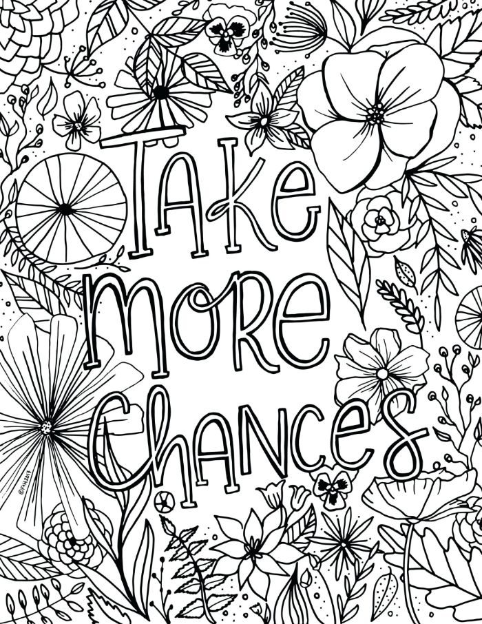 take more chances written in cursive font in the middle spring coloring pages surrounded by different flowers