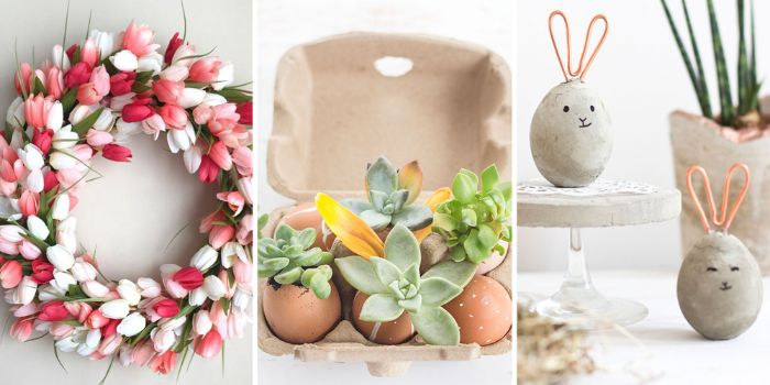 three side by side photos of diy easter decorations tulip wreath succulents in eggshells egg bunnies
