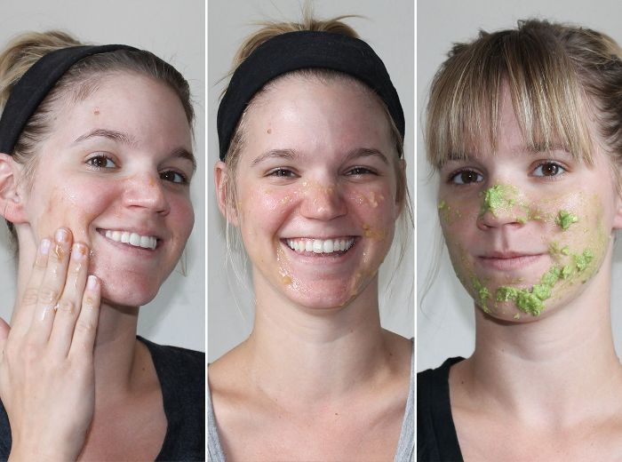 three side by side photos of woman putting green avocado mask on her face homemade face masks