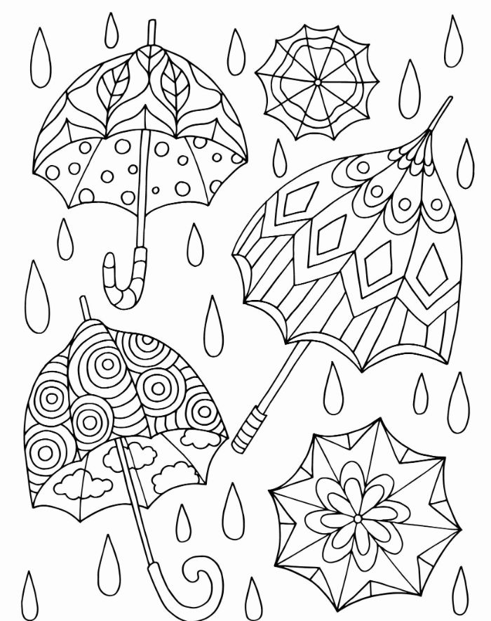 three umbrellas with different patterns surrounded by raindrops flower coloring pages for kids black and white drawing