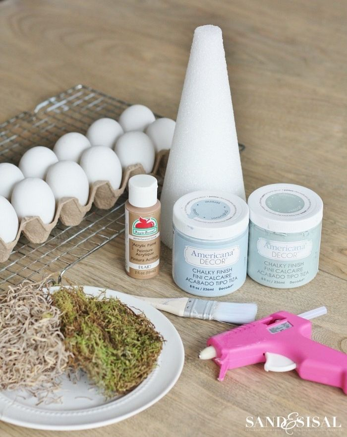 tree topiary easter table décor supplies for step by step diy tutorial moss eggs paint glue