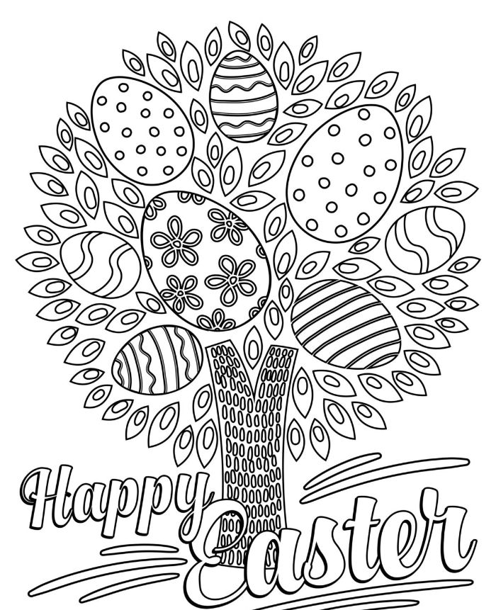 tree with easter eggs on it with different patterns easter bunny coloring pages happy easter written underneath