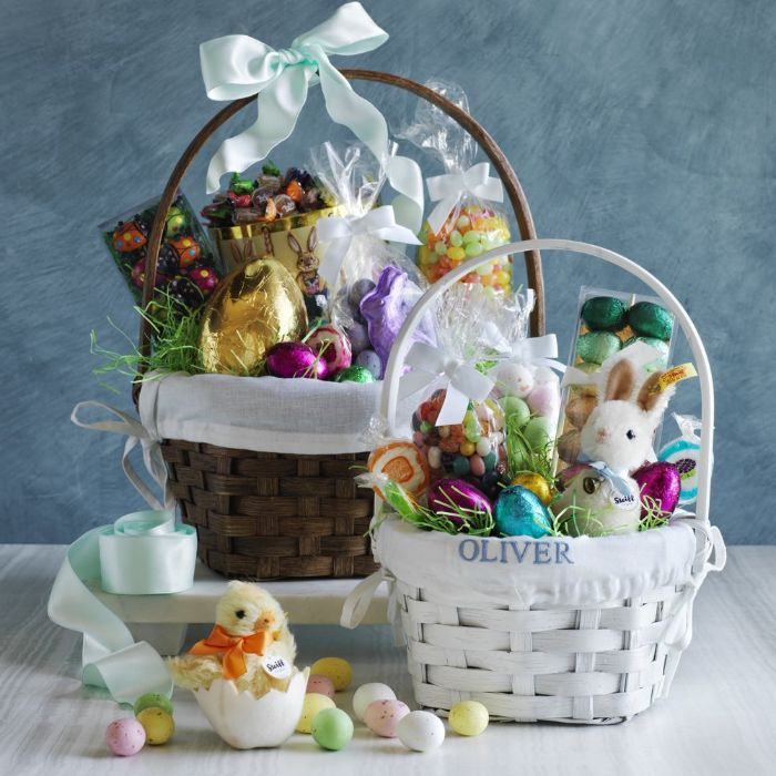 two baskets filled with all kinds of easter themed candy easter baskets for boys