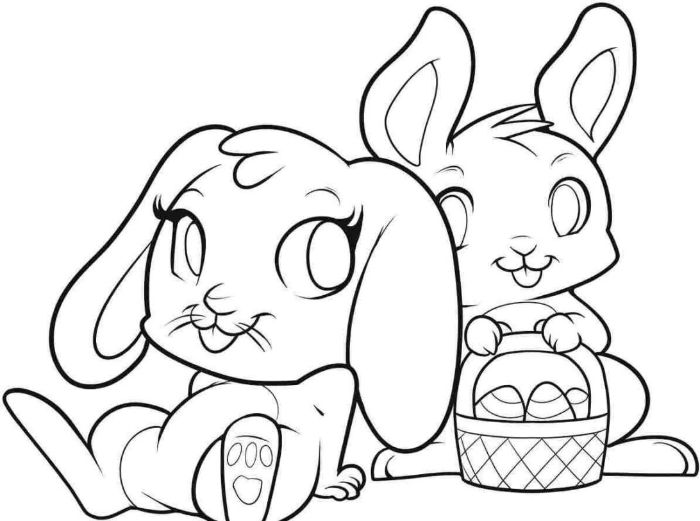 two bunnies black and white drawing bunny coloring pages one bunny holding a basket full of eggs