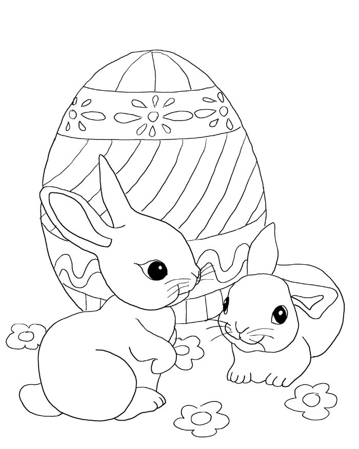 two bunnies standing in front of large egg easter egg coloring pages black and white drawing