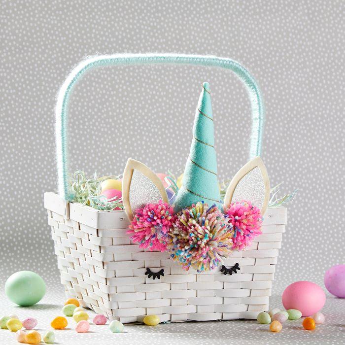 unicorn easter basket step by step diy tutorial easter basket ideas for kids