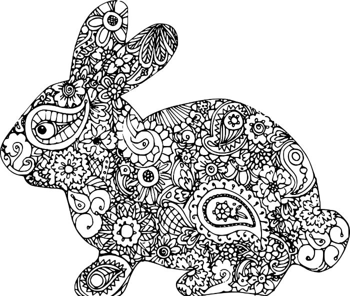 white background black and white drawing of bunny easter coloring pages floral patterns to color