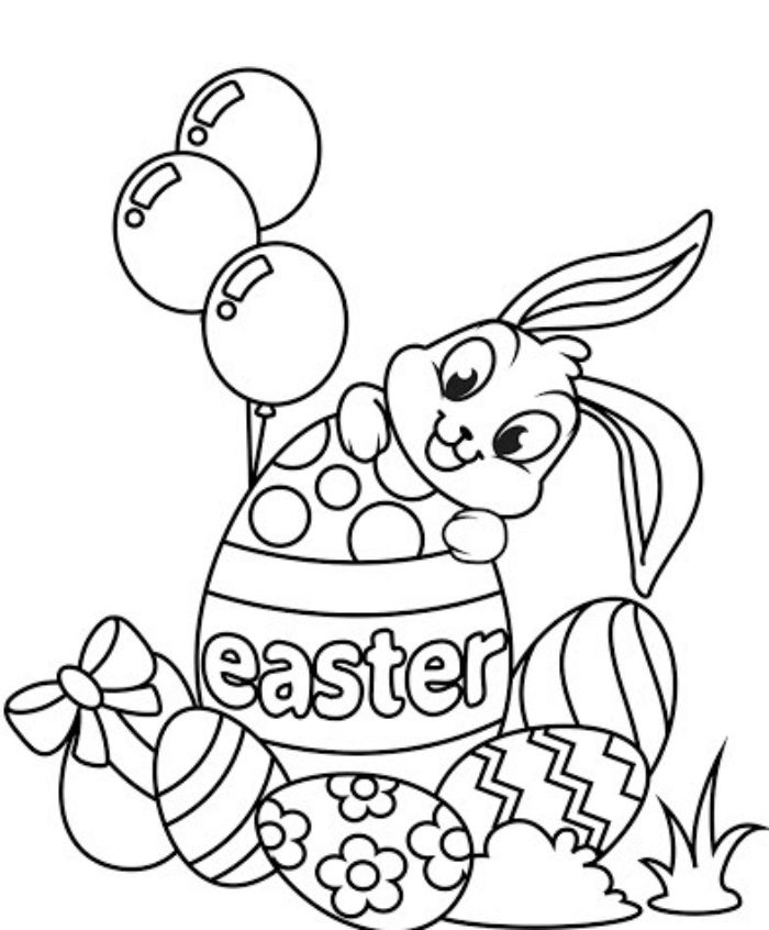 white background free printable easter egg coloring pages drawing of bunny and easter eggs with different patterns