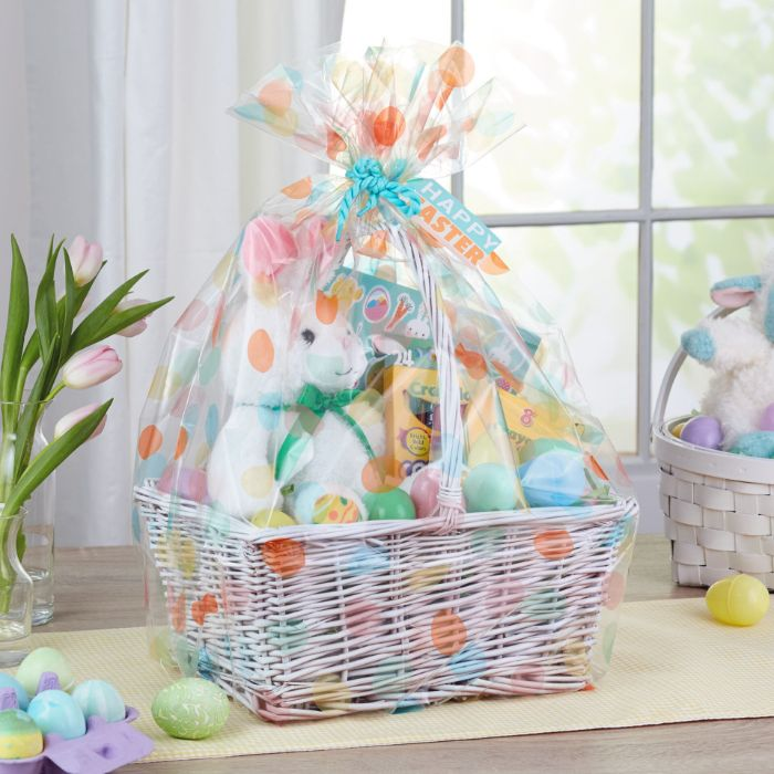 white basket wrapped in foil easter baskets for kids stuffed bunny coloring book crayons inside