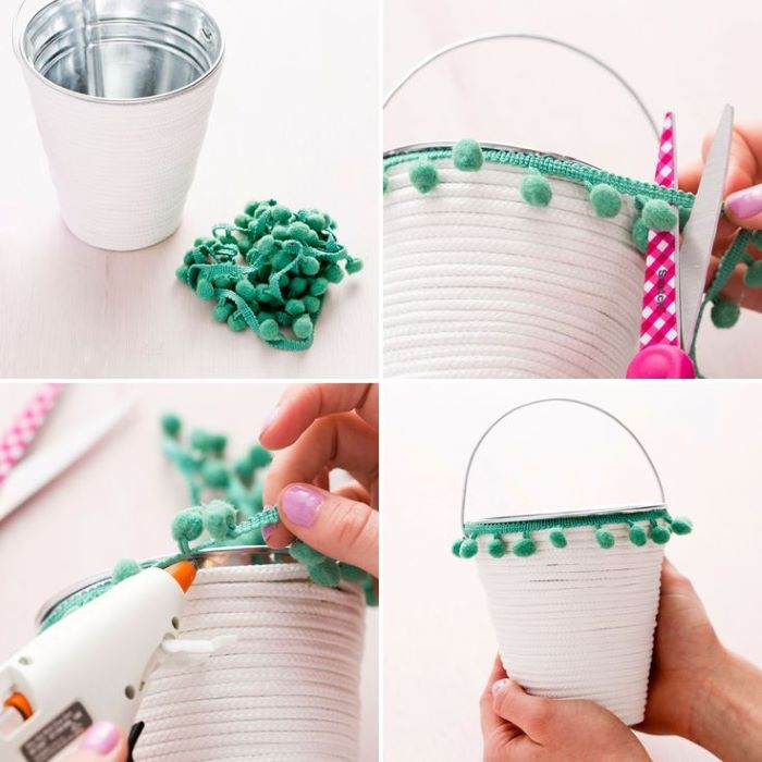 white rope green pom pom ribbon around metal basket easter basket ideas for toddlers step by step tutorial