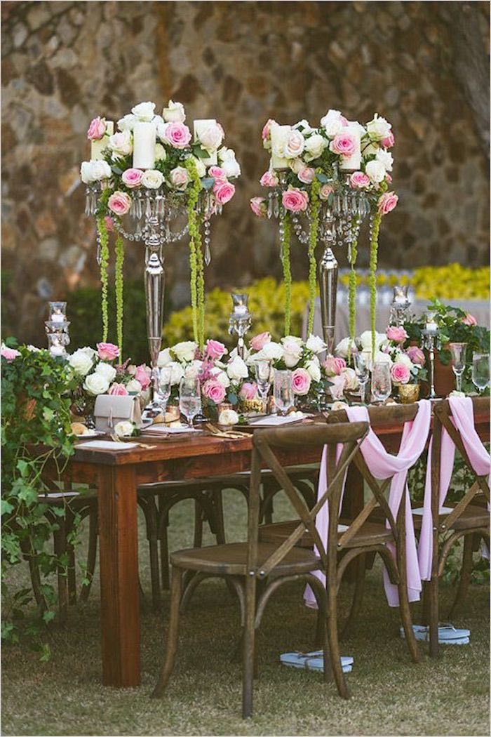 wood table and chairs home wedding ideas floral table runner and tall centerpieces with white and pink roses