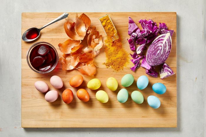 wooden board with eggs and ingredients how to dye eggs naturally with onion beetroot turmeric cabbage
