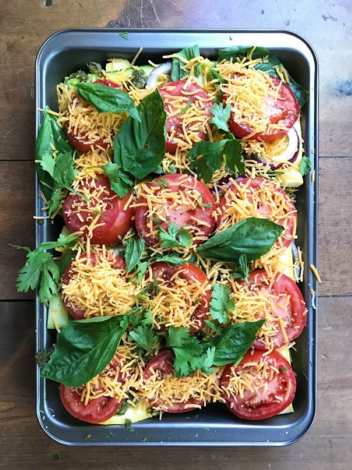 yellow squash casserole squash and zucchini sliced tomatoes cheese parsley and spinach