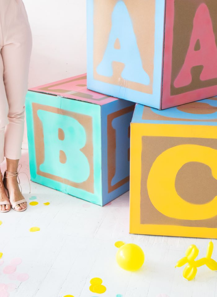 baby blocks with letters made of carton boxes baby shower decoration ideas for girl step by step diy tutorial