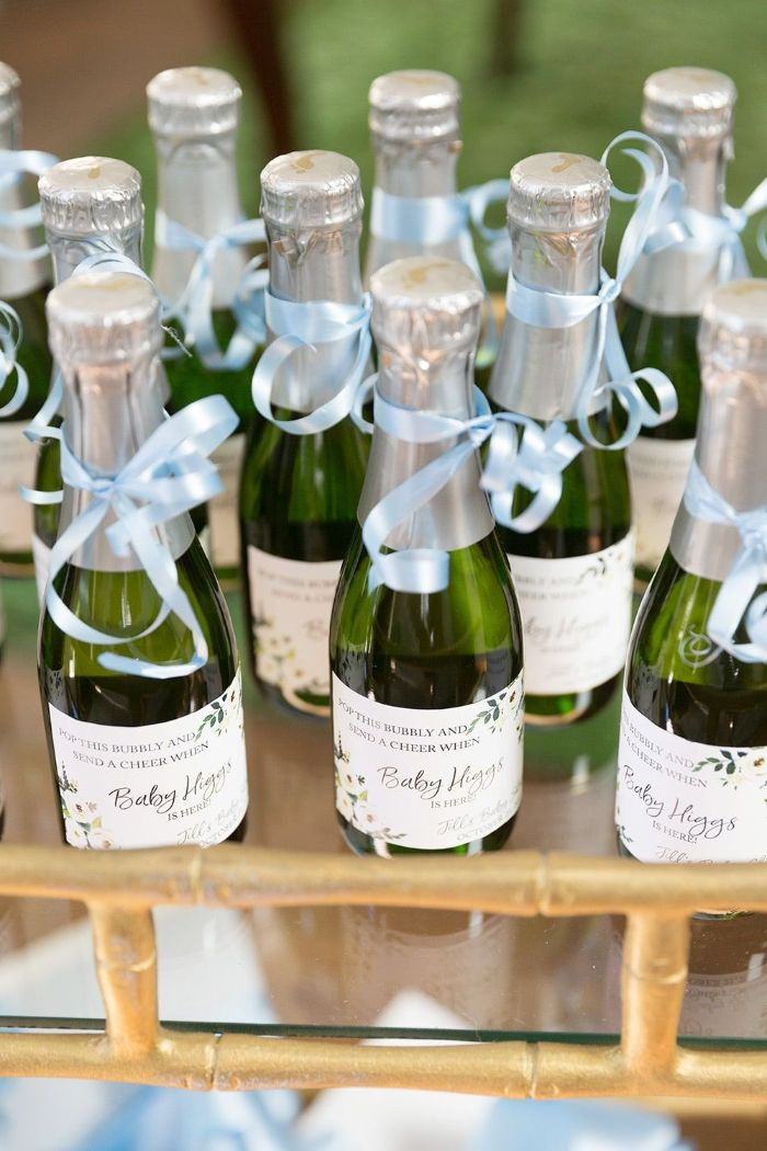 baby shower decorations girl party favours mini champagne bottles with personalized labels blue ribbons