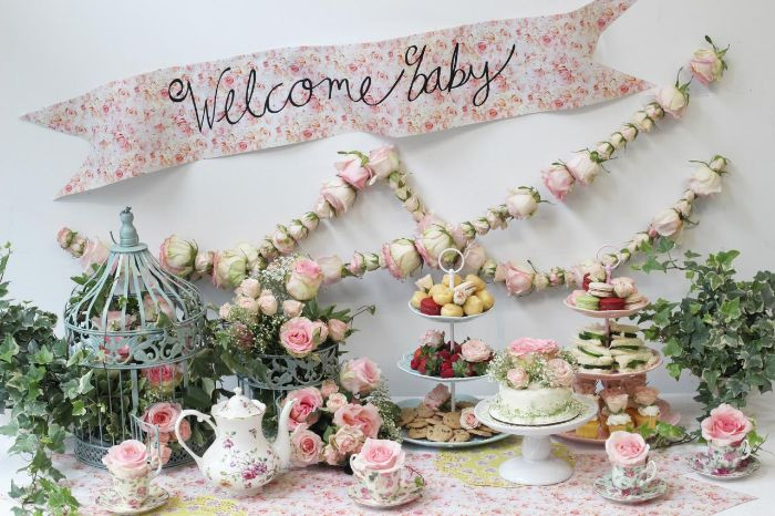 baby shower table decorations tea party theme roses garland and bouquets teapot and vintage teacups