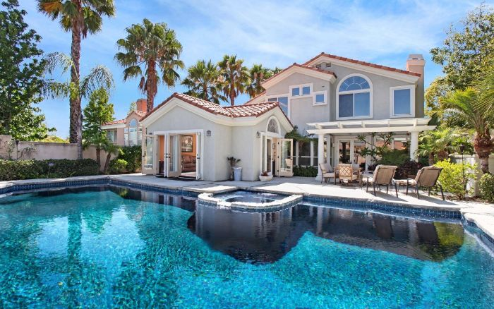 backyard swimming pool large house with tall palm trees large pool and jacuzzi