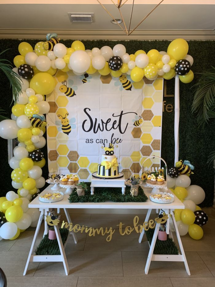 bee themed baby shower decorations yellow white black balloons sweet as can bee poster mommy to bee garland