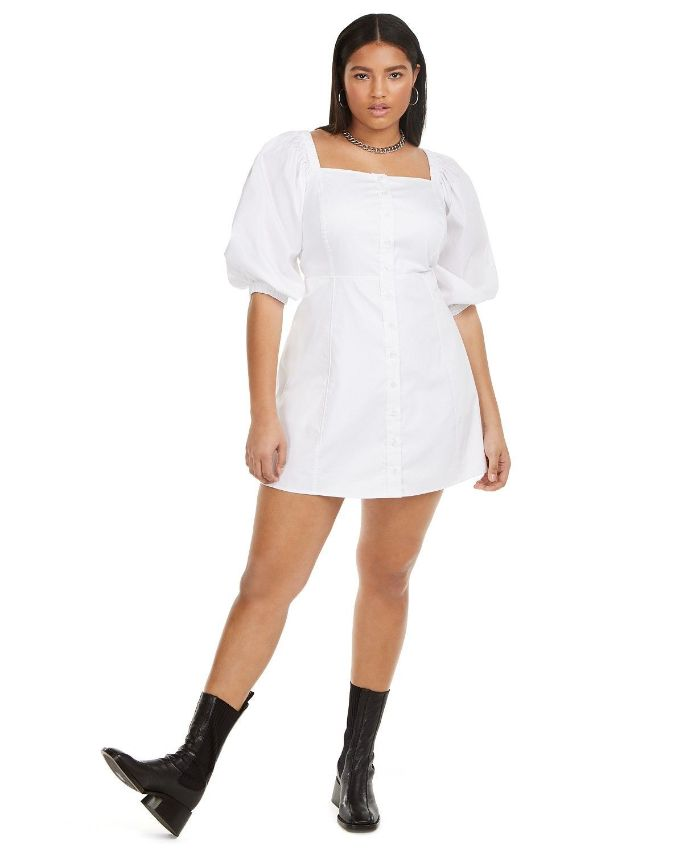 black leather boots white dress cute clothes for teens worn by woman with long black hair
