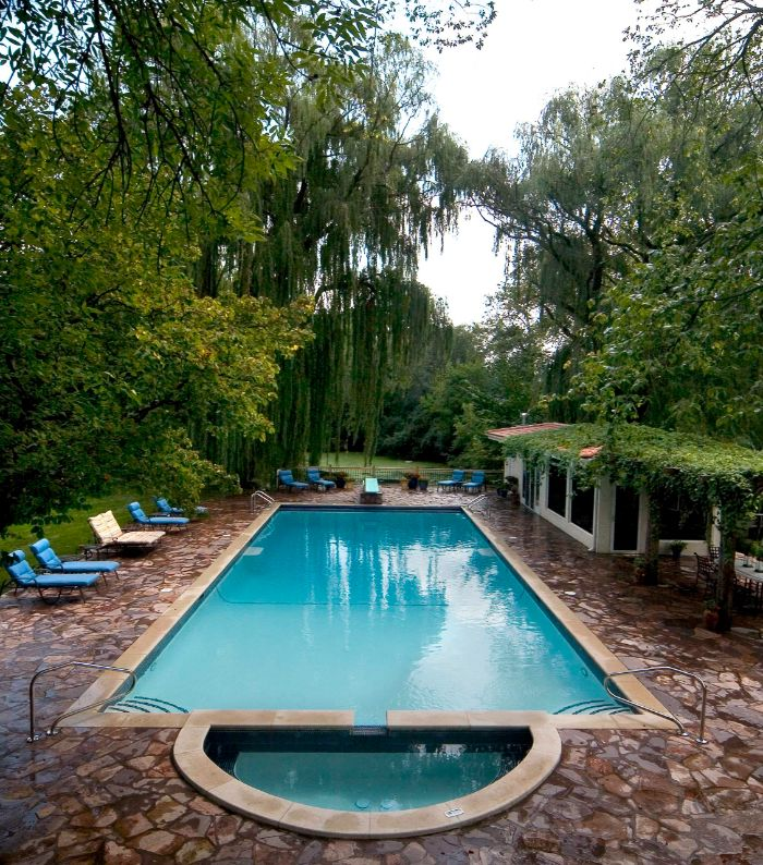 blue and white cushions on lounge chairs next to pool small backyard pool ideas surrounded by tall trees