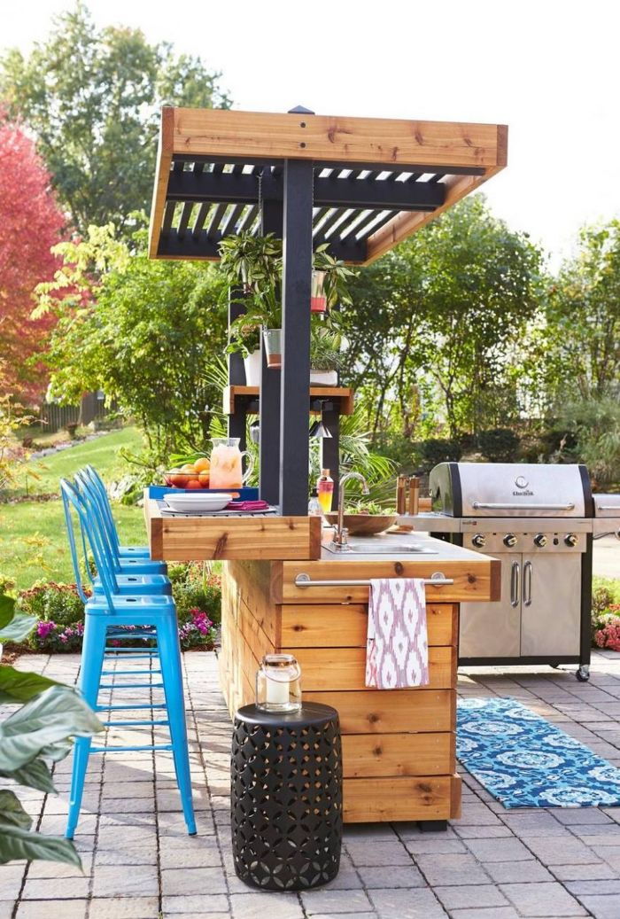 blue metal bar stools next to small kitchen island home bar ideas on a budget barbecue on the side