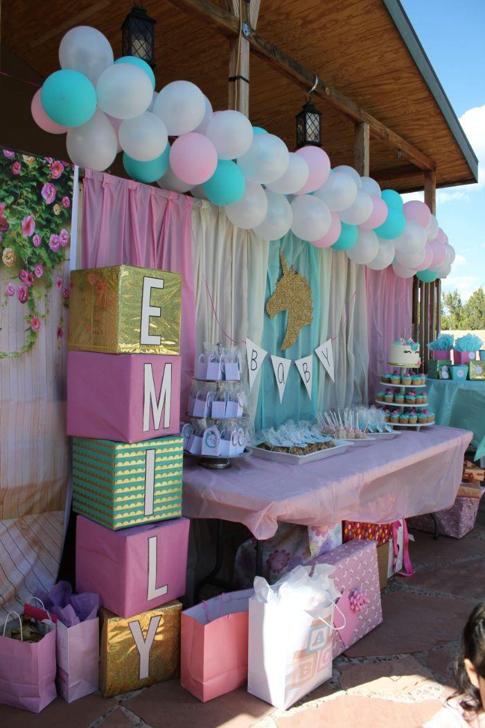blue white purple pink balloons and baby blocks baby shower decorations girl unicorn theme