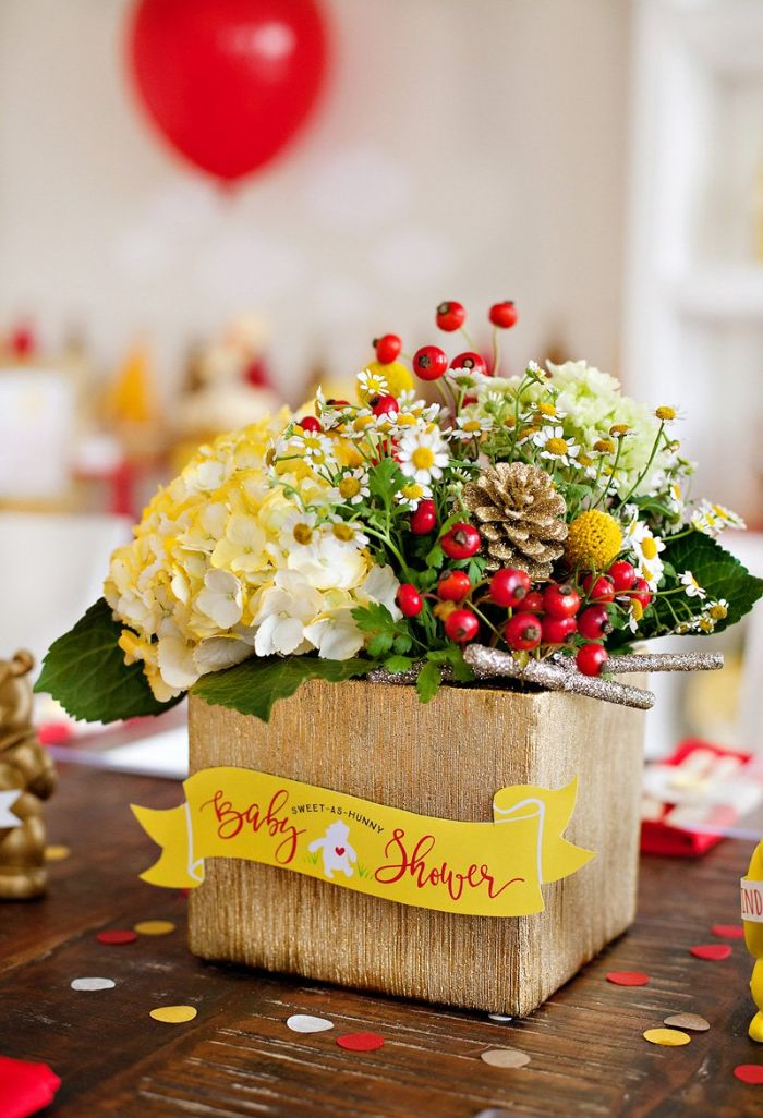 centerpiece flower bouquets with spring flowers baby shower table decorations winnie the pooh theme