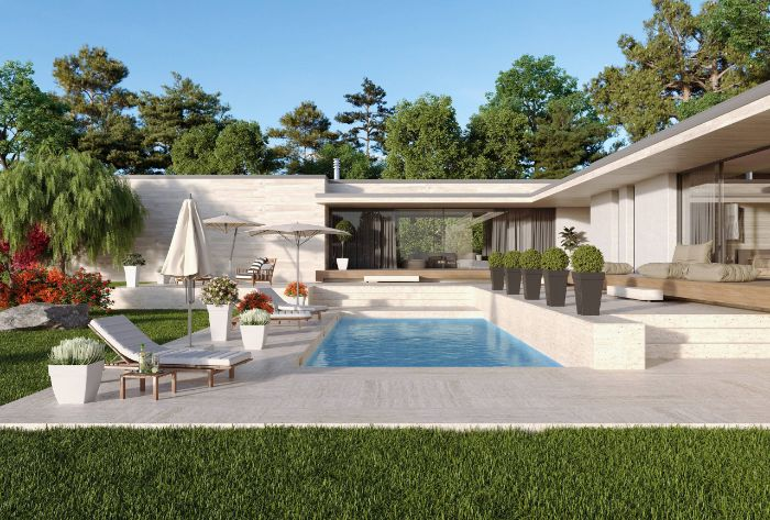 contemporary house with large yard backyard swimming pool with lounge chairs and umbrellas next to it