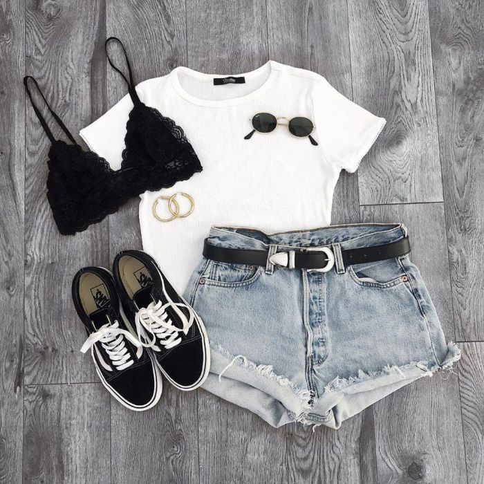 cute outfits for girls denim shorts white t shirt black bralette cute outfits for girls sunglasses black vans sneakers