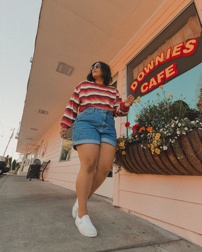 denim shorts red brown white striped long sleeved blouse white sneakers clothes for teenage girls worn by girl with black hair