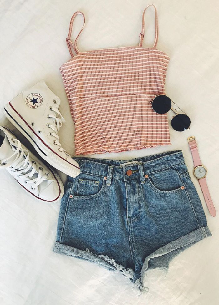 denim shorts white high top converse shoes beige and whtie striped top cute outfits for teen glasses and watch