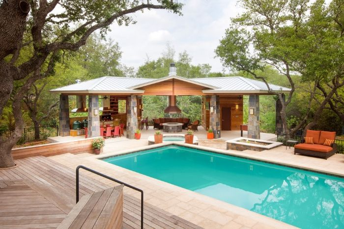 dining area outside kitchen next to backyard pool ideas garden furniture with orange cushions