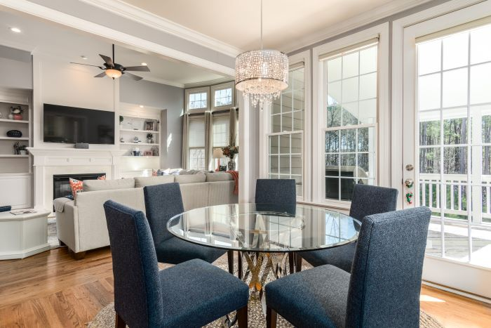 dining room and living room open space plan window installation tall windows and doors