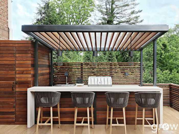 enclosure made of wood outdoor bar ideas island made of wood with white countertop four black stools in front
