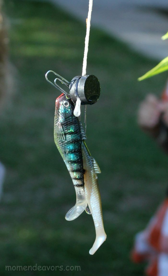 fishing with plastic fish bait and magnets fun games to play outside diy tutorial