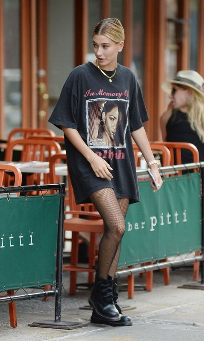 hailey bieber wearing oversized black t shirt with black doc martens clothes for teenage girls