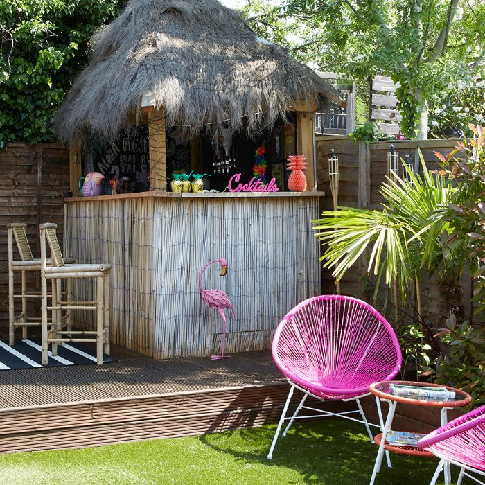 how to build an outdoor bar tiki bar with bamboo different decorations flamingo pineapples hawaii style