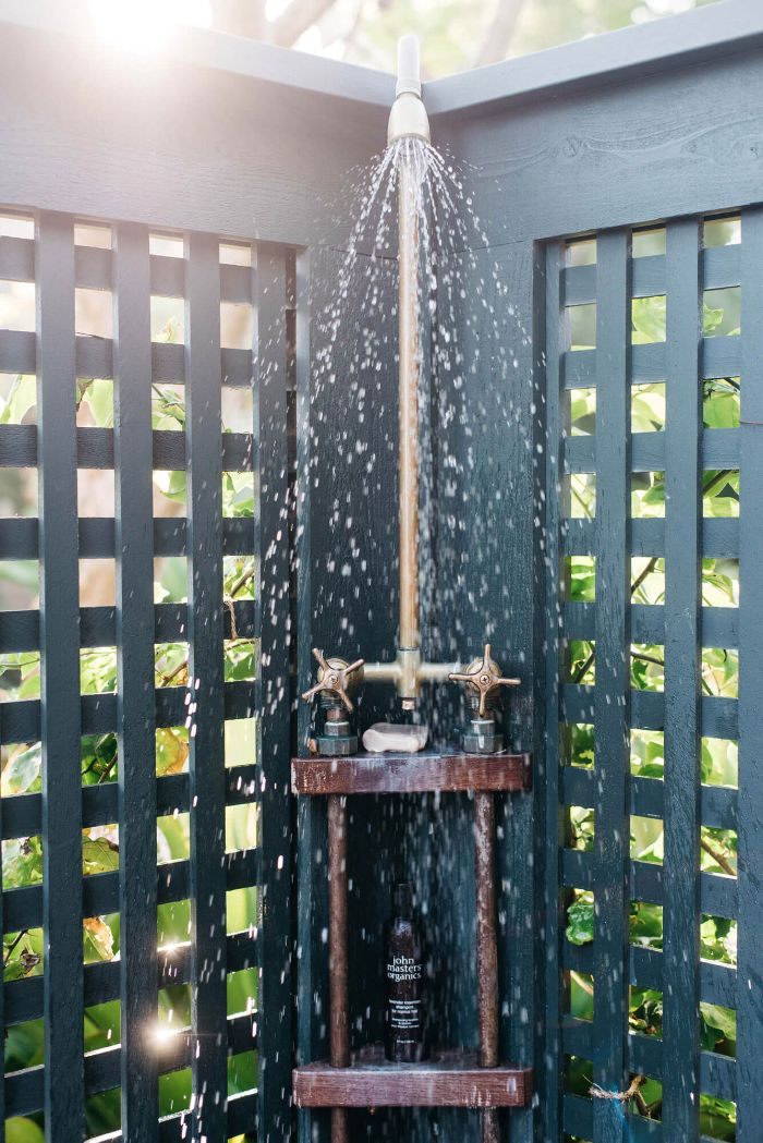 how to build an outdoor shower brass vintage pipes and faucet black wood enclosure