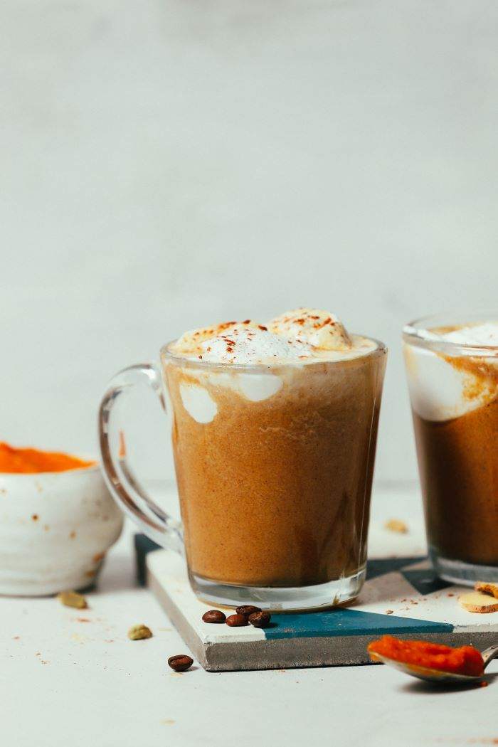how to make coffee in a pot pumpkin spice latte recipe poured in two glass mugs