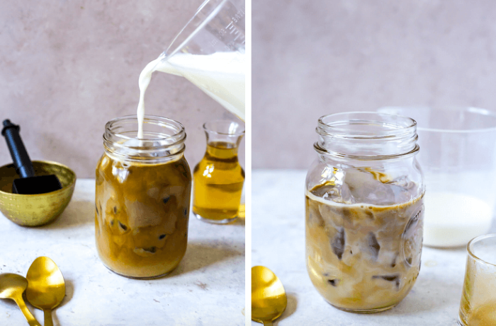 how to make cold brew coffee side by side photos of=mason jar filled with coffee milk being poured into it