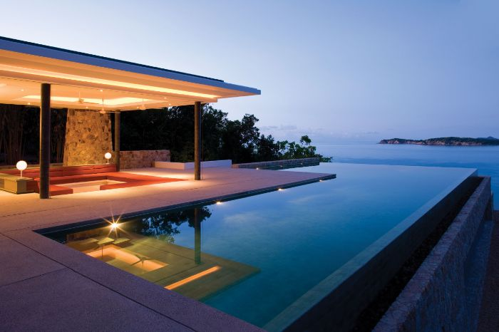 infinity pool with ocean view backyard inground pools deck with minimalistic lounge area
