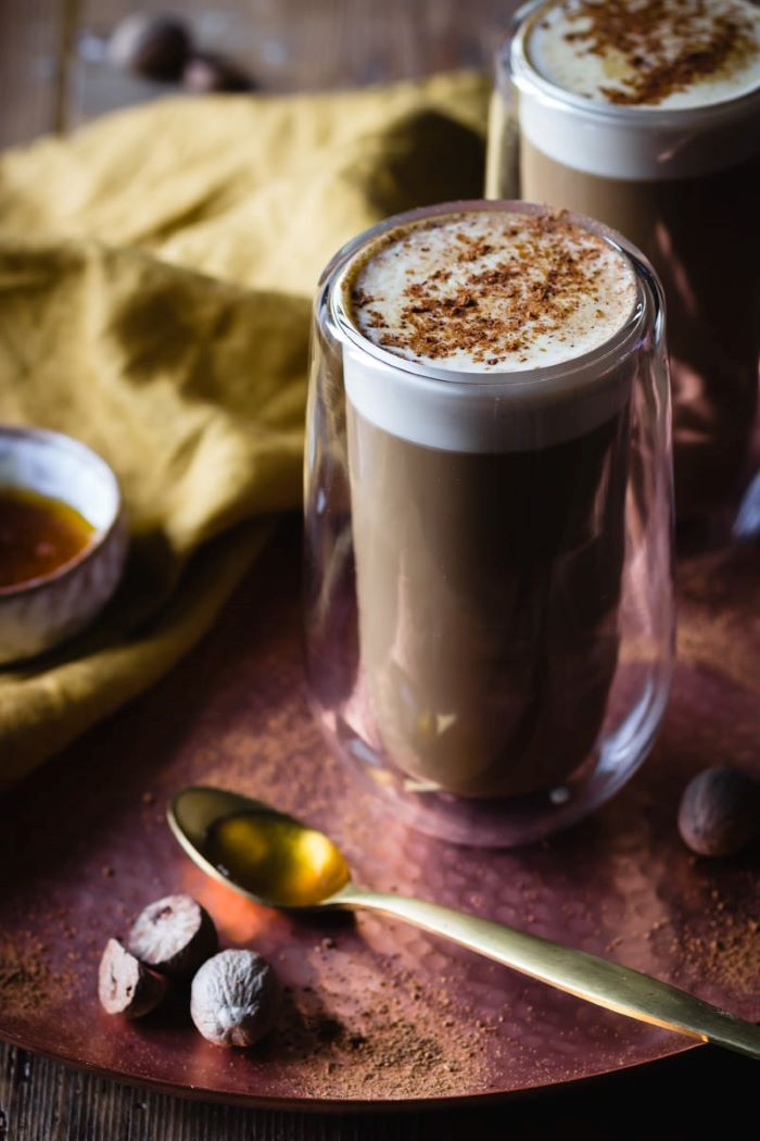irish cream coffee recipe how much coffee per cup poured in two glasses topped with cinnamon