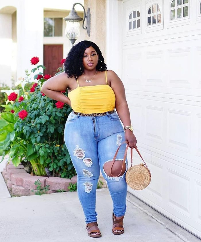 jeans yellow top worn by woman with black hair cute outfits for teen brown leather sandals