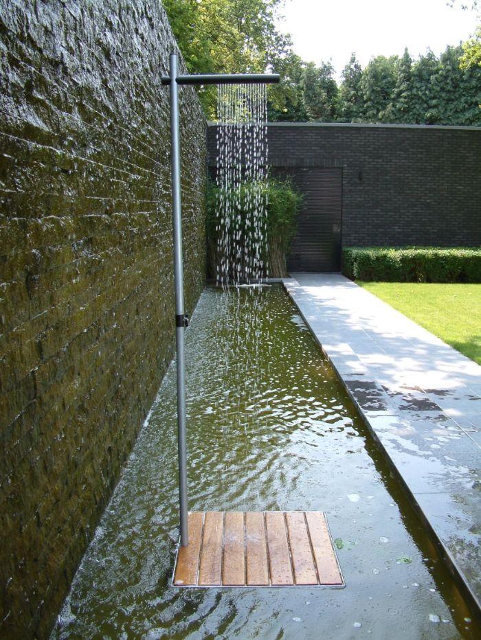 mini shower tube inside fountain diy outdoor shower enclosure small wood floor
